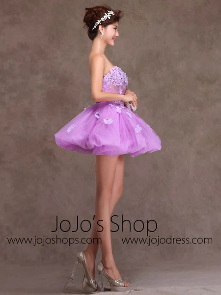 Purple Strapless Tutu Ballerina Short Prom Dress Party Dress Cocktail  JoJo Shop