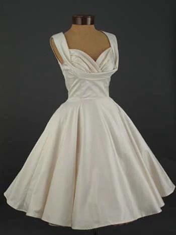 Retro Vintage Tea Length Ivory Satin Wedding Dress