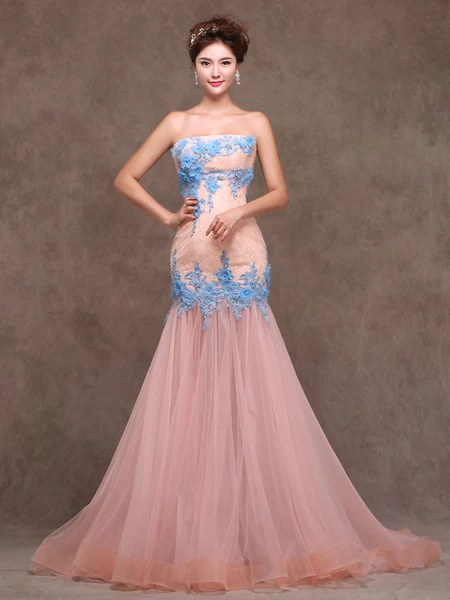 Whimsical Strapless Fitted Peach Lace Formal Evening Prom