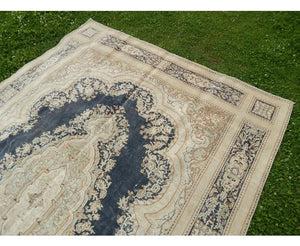 tapis persan bleu beige fait main 240x340 cm