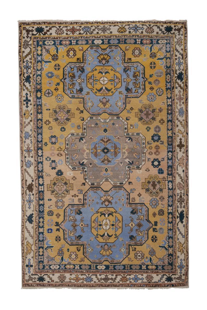 tapis persan jaune fait main 124x195 cm