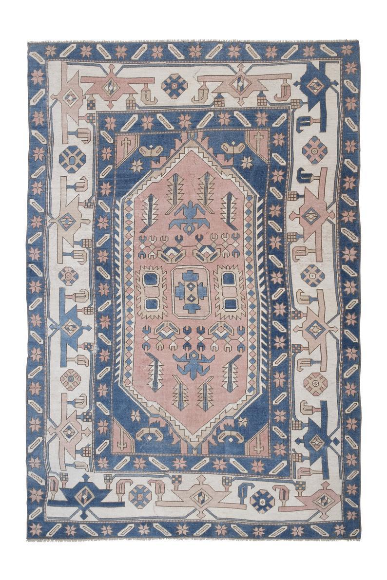 tapis persan bleu rose fait main 220x330 cm