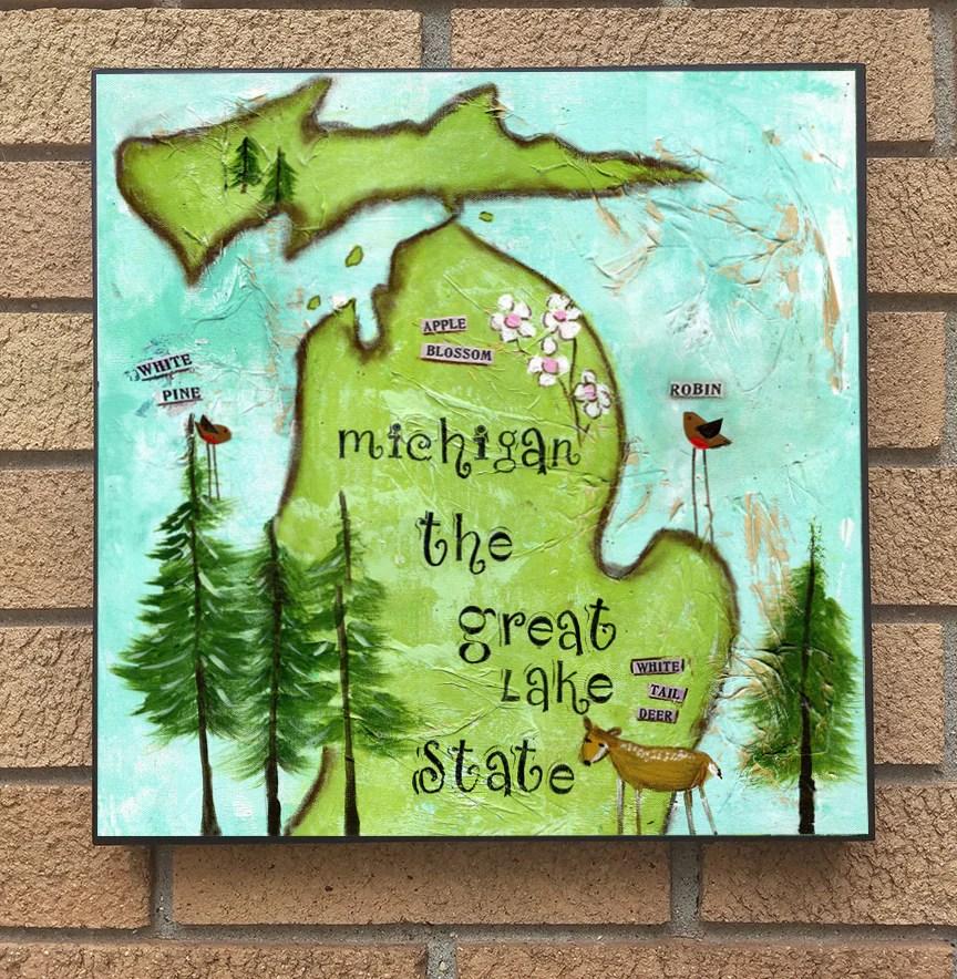 Michigan State Symbols Wood Block Print Bit O Whimsey Design Studio