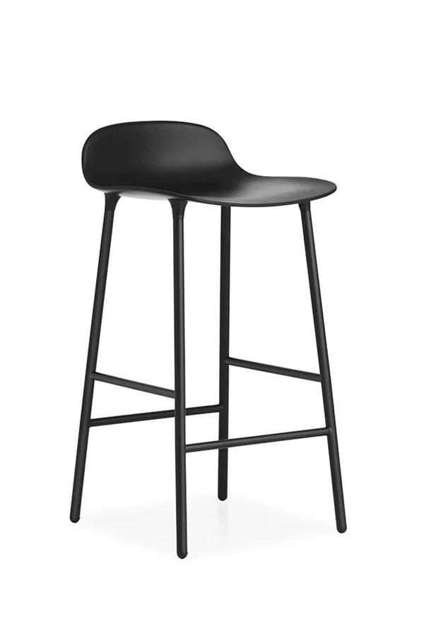 Form Barstool Barkruk  staal en zwart  deBesteKamer