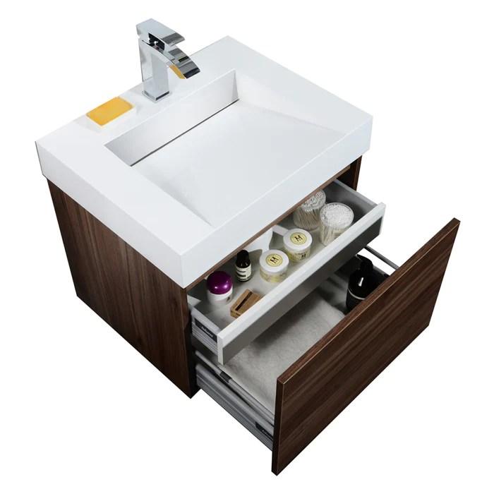 aquamoon venice 24 infinity sink walnut wall mounted modern bathroom vanity set