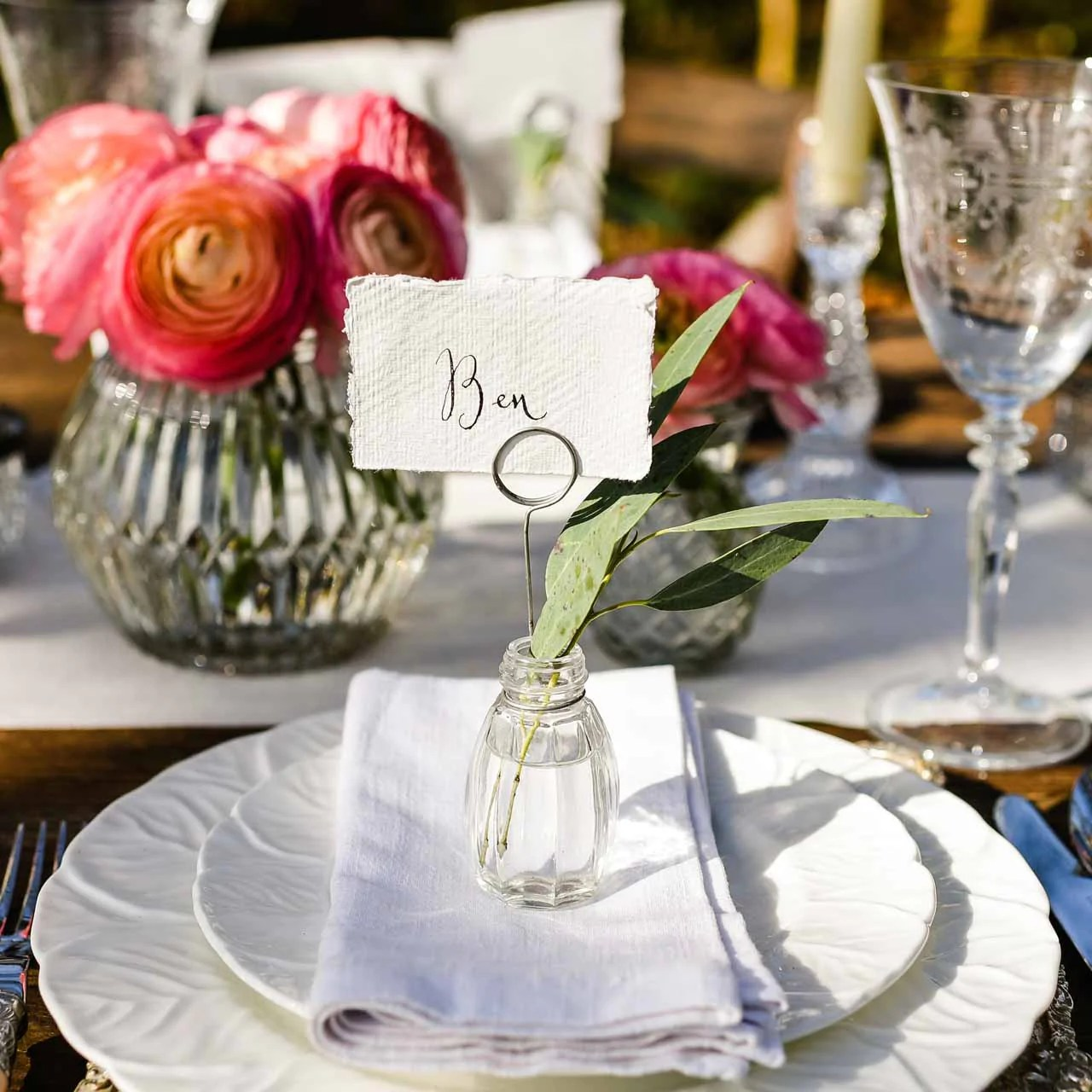 Glass Vase Place Card Holders
