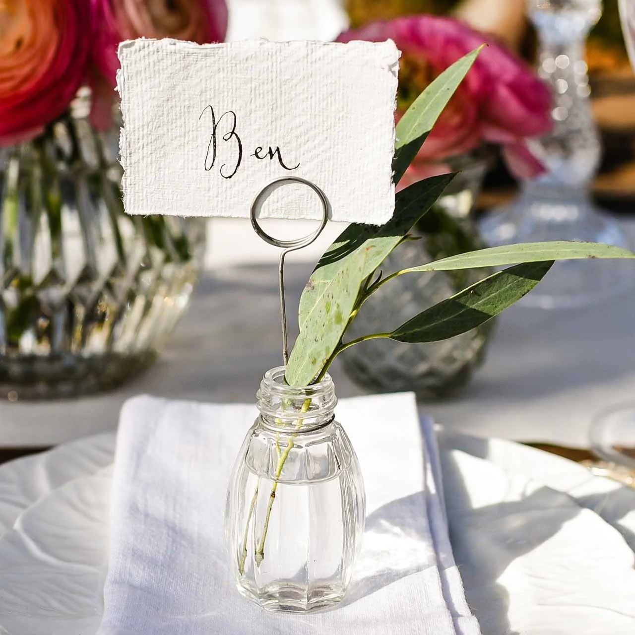Glass Wedding Place Card Holders