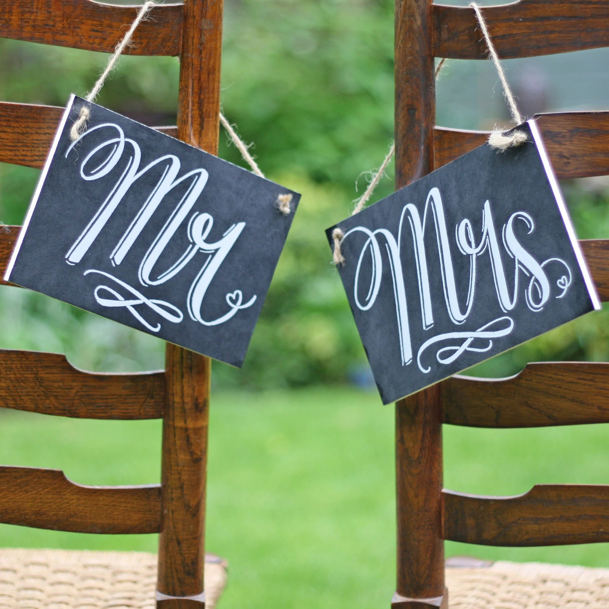 grey bucket chair cow print covers mr & mrs back wedding signs – chalkboard style the of my dreams