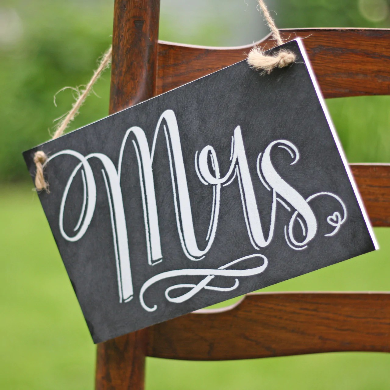 mr and mrs chair signs wooden chairs for toddlers back wedding  chalkboard style the