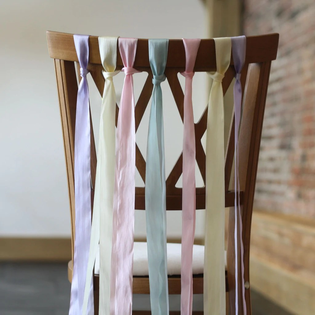 wedding chair back decorations helinox ground silk ribbon pink ivory lilac mint green sold by the