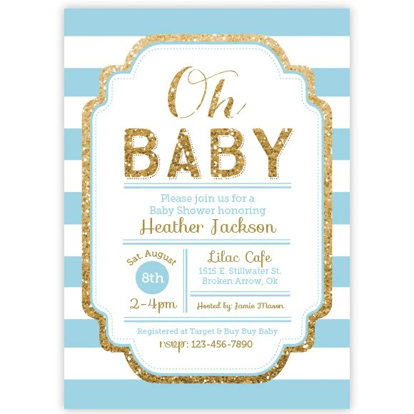 Pink And Gold Glitter Baby Shower Invitation Aditional