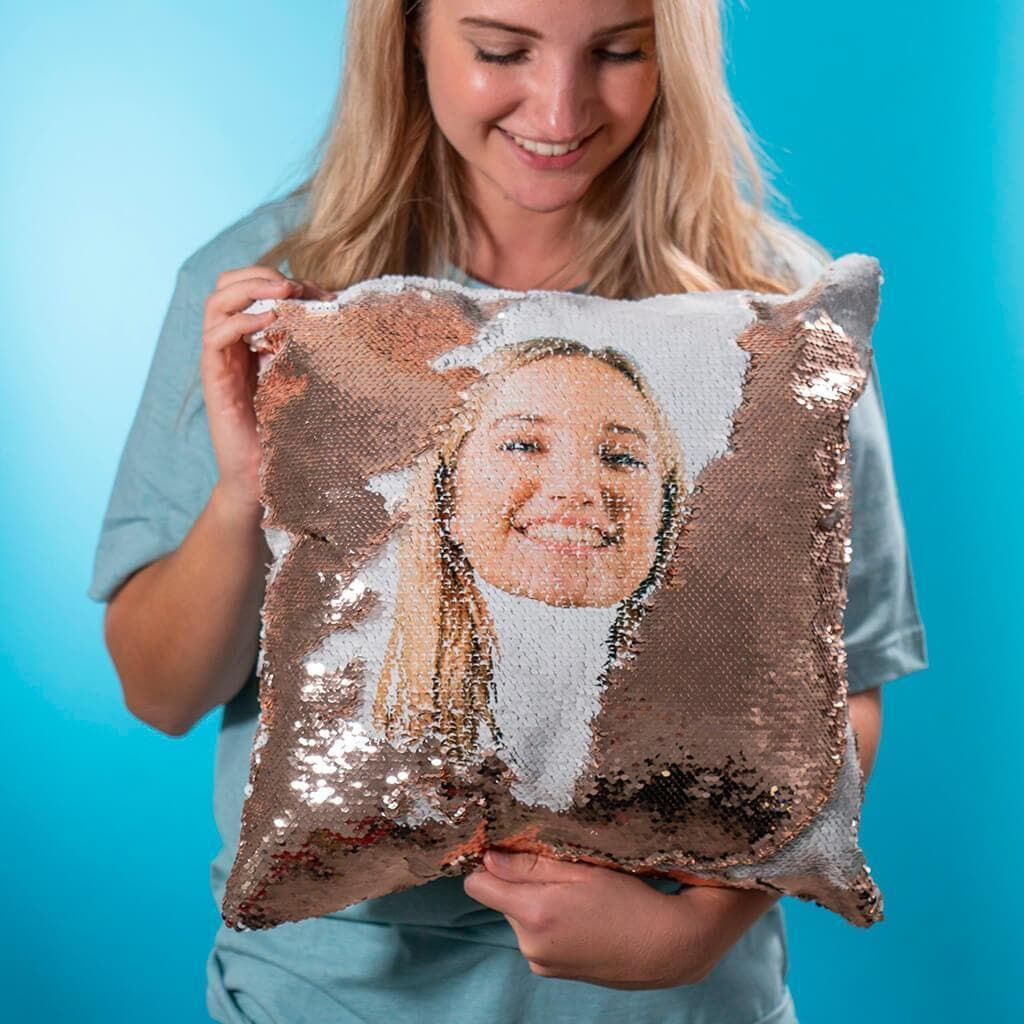 personalised sequin pillow cover bluecrate