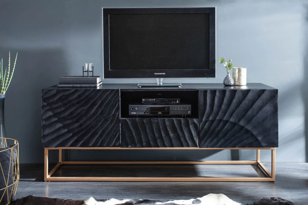 scorpion mango wood tv unit lowboard black 160 cm