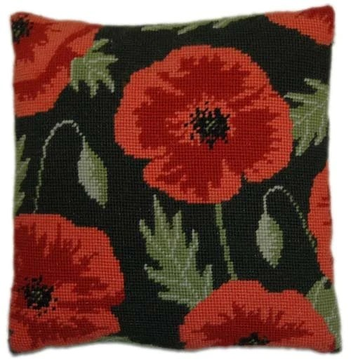 needlepoint pillow kit wild poppy