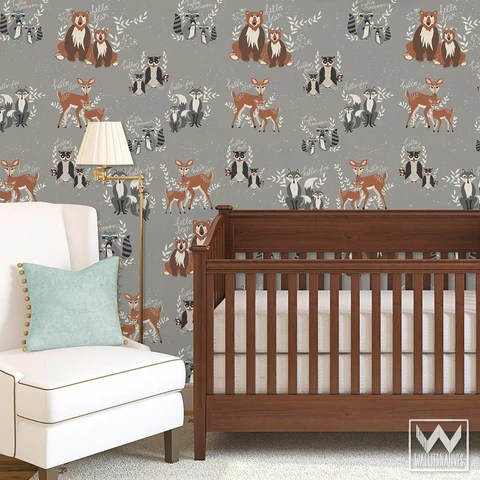 Forest  Woodland Animals Pattern on Removable Wallpaper from Bonnie Christine  Wallternatives