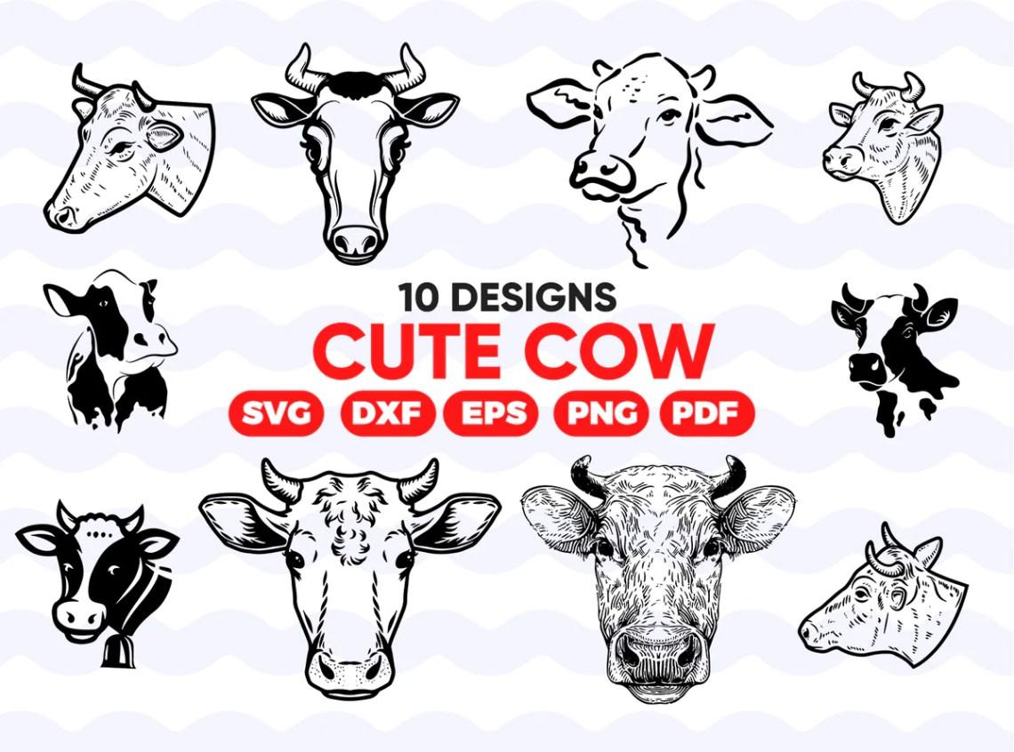 Download Cute Cow SVG Bundle, Cute Cow SVG, Cute Cow Clipart, Cut ...