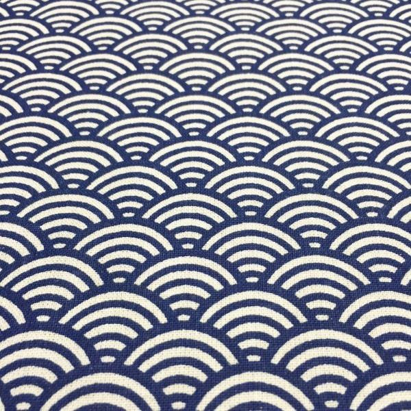 tissu japonais vague seigaiha bleu marine