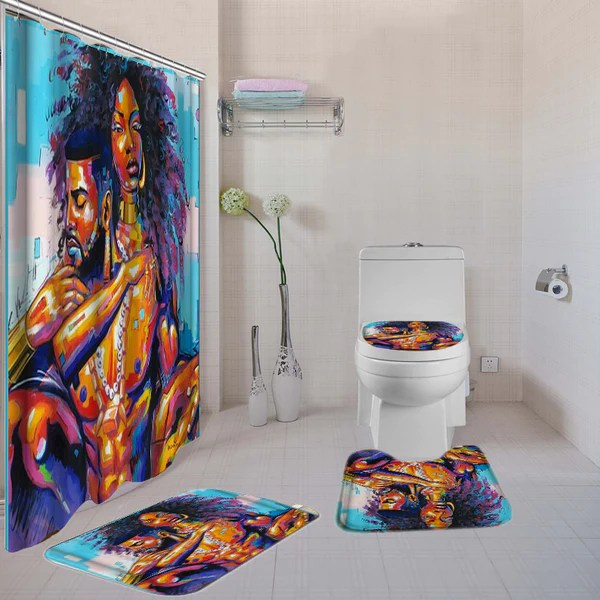 the black king and black queen bathroom shower curtain duroshan african prints and things