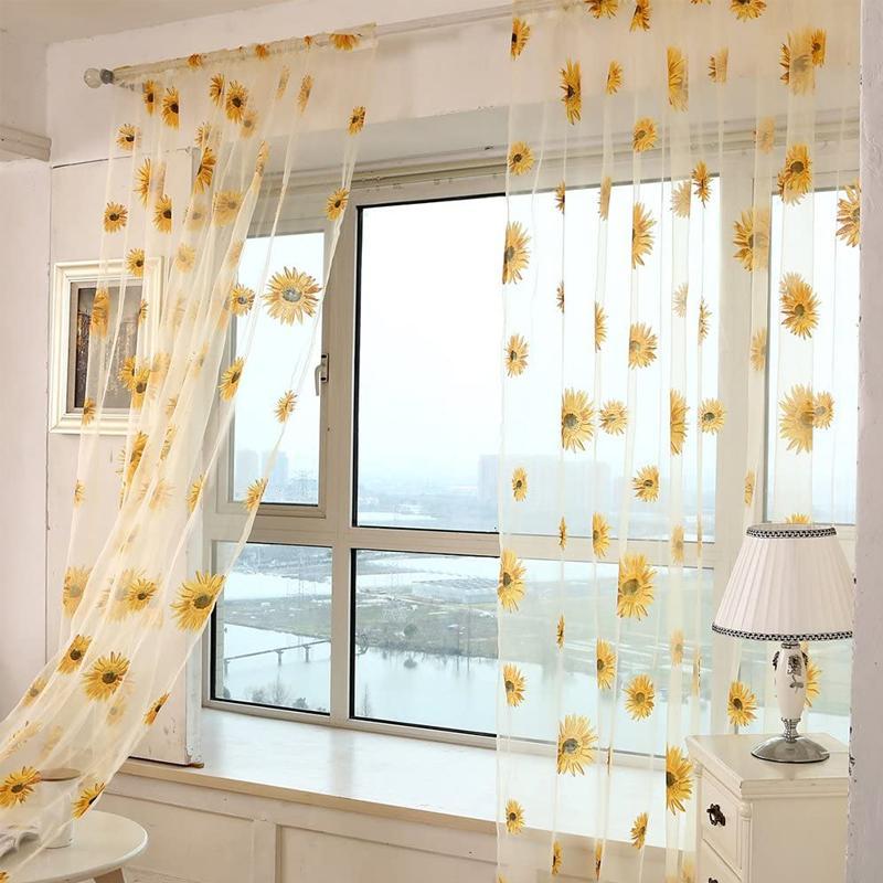 rideau voilage decoratif en tulle transparent tournesol jaune vieclair