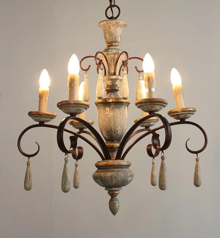 lustre bois rustique 6 luminaires