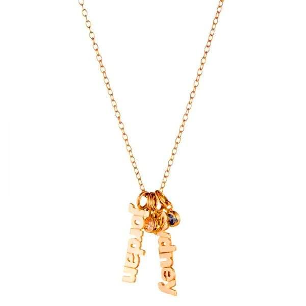 gold vertical name birthstone necklace kourtney kardashian