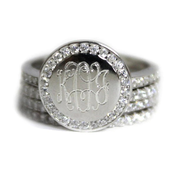monogrammed silver ring