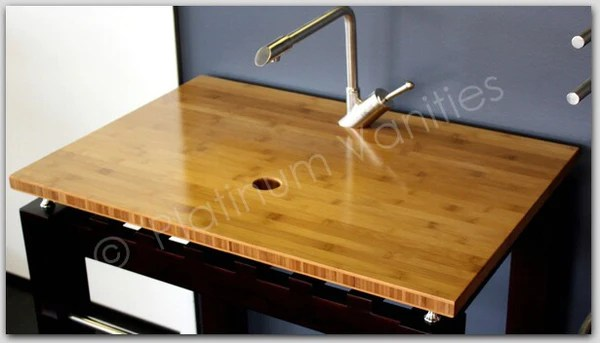 21 In Wide Bamboo Bathroom Vanity Top For Vessel Sink