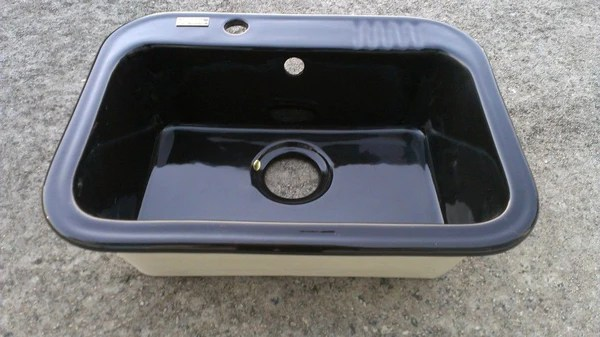 deep kitchen sink premium sinks 23.25 inch black porcelain single bowl drop in ...