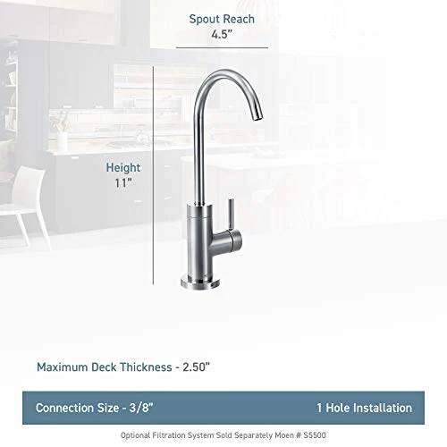 moen s5530srs sip modern cold water kitchen beverage faucet with optio directnine europe