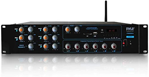 wireless bluetooth power amplifier system 4200w 6ch powered rack mount portable multi zone audio home stereo receiver box w rca usb aux for