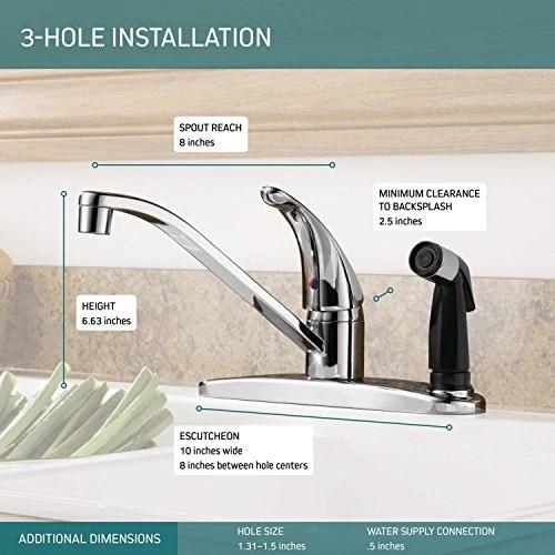 peerless single handle kitchen sink faucet with integrated side spraye directnine europe