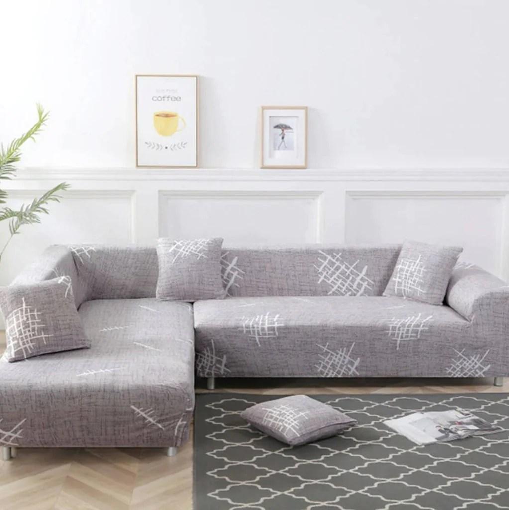 housse de canape d angle bi extensible gris