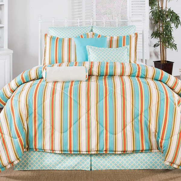 Coral and Aqua Dorm Comforters  American Made Dorm  Home