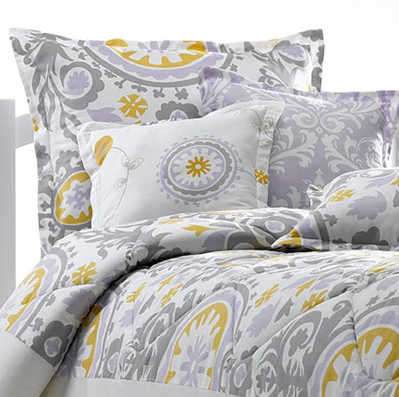 Lavender  Gray Suzani Duvet  American Made Dorm  Home