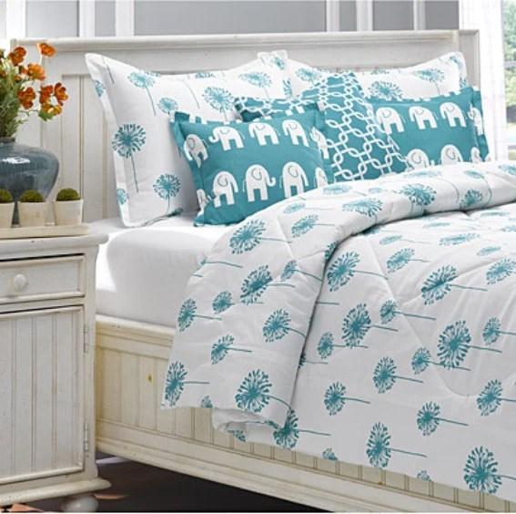 Turquoise Dandelion Duvet Set  American Made Dorm  Home