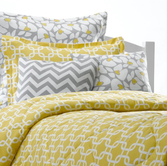 Yellow Metro Duvet Set  American Made Dorm  Home