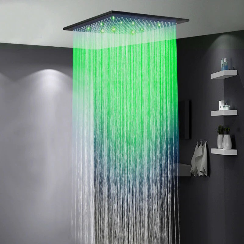 20 matt black led shower head ceiling mounted rain large