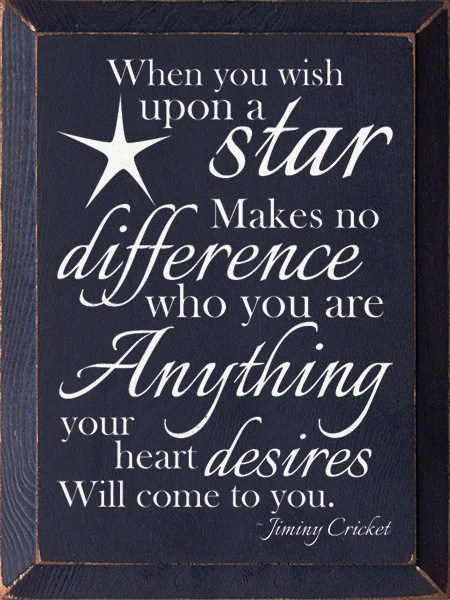When You Wish Upon A Star Wood Sign Black With
