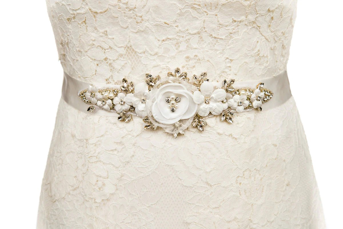 Flora Wedding Dress Belt Sash Ivory Flowers