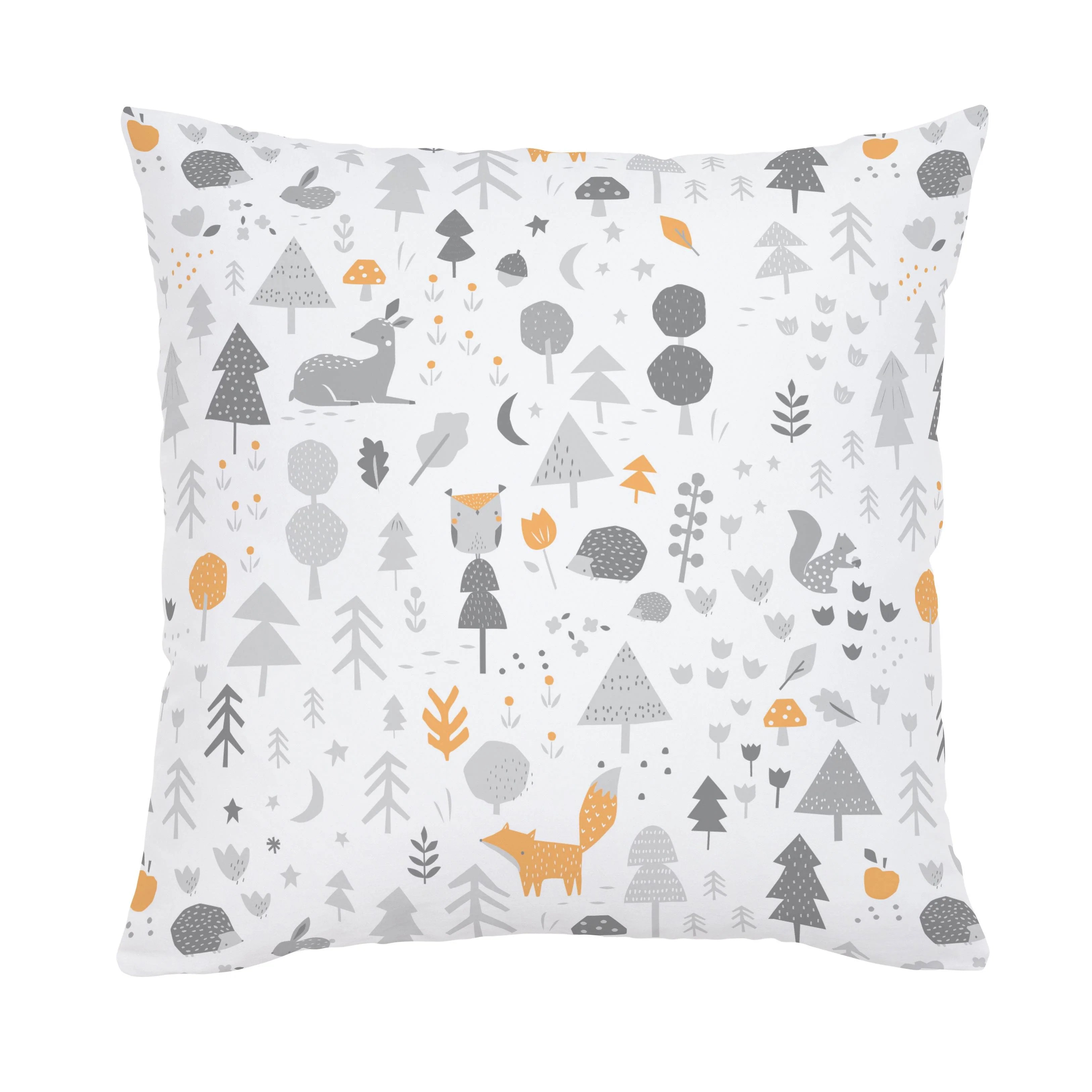 light orange and silver gray baby woodland throw pillow
