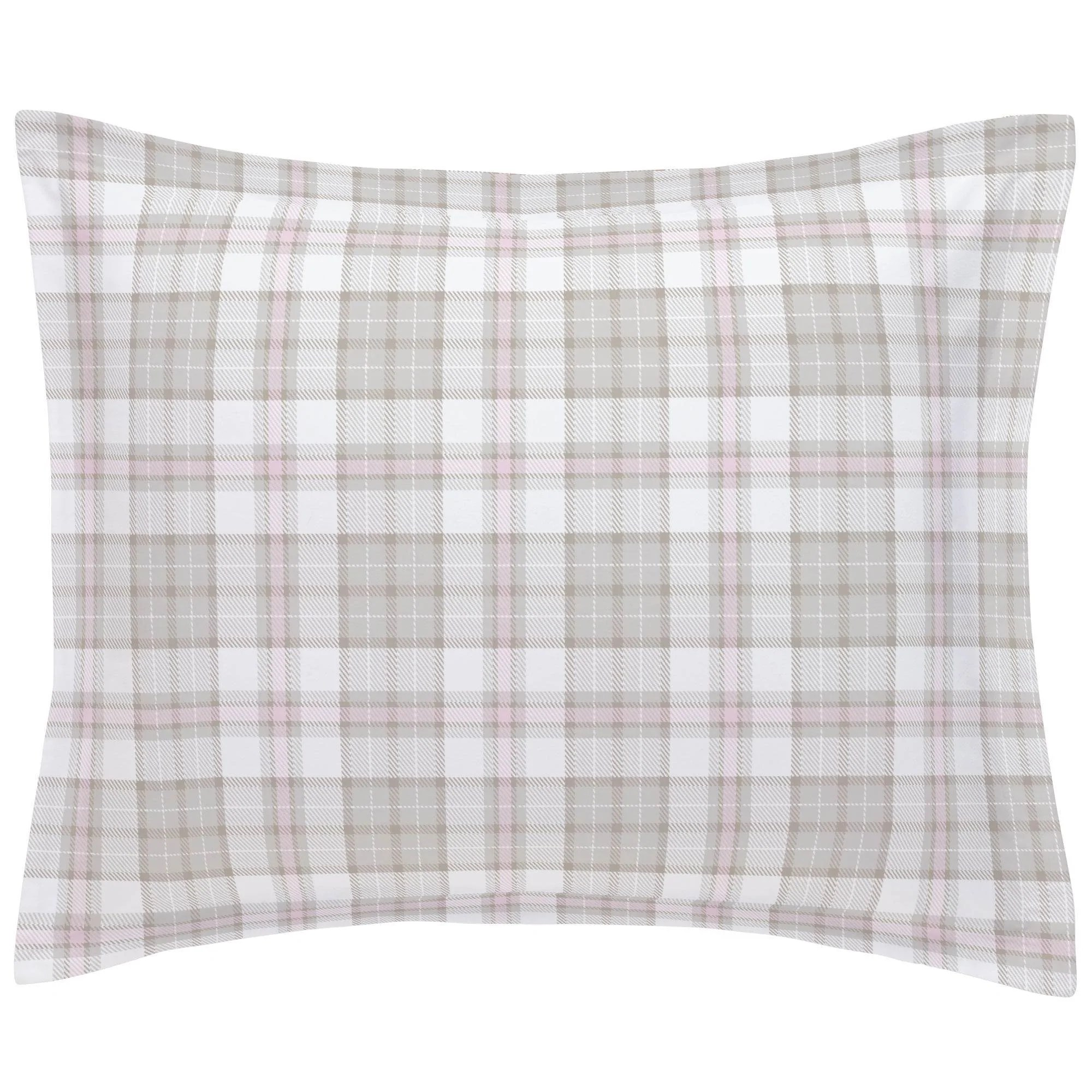 french gray and pink plaid pillow sham