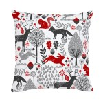 Red And Gray Woodland Animals Throw Pillow Carousel Designs