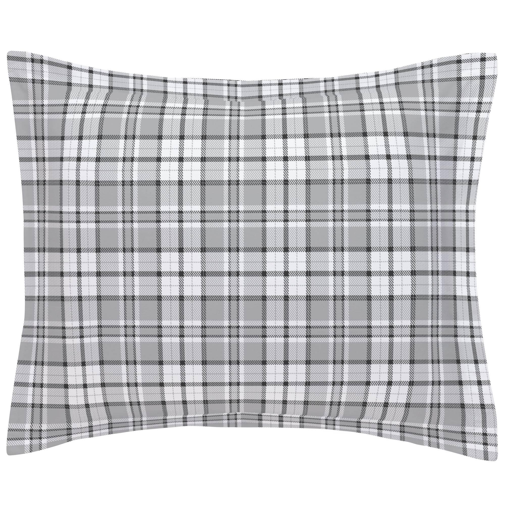 gray plaid pillow sham