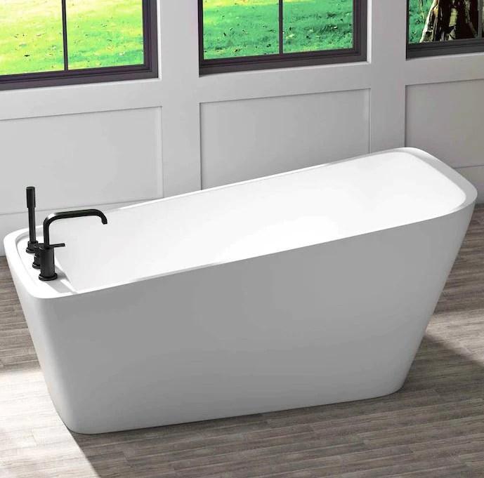 bain autoportant sikome 63 x31 avec plage pour robinetterie