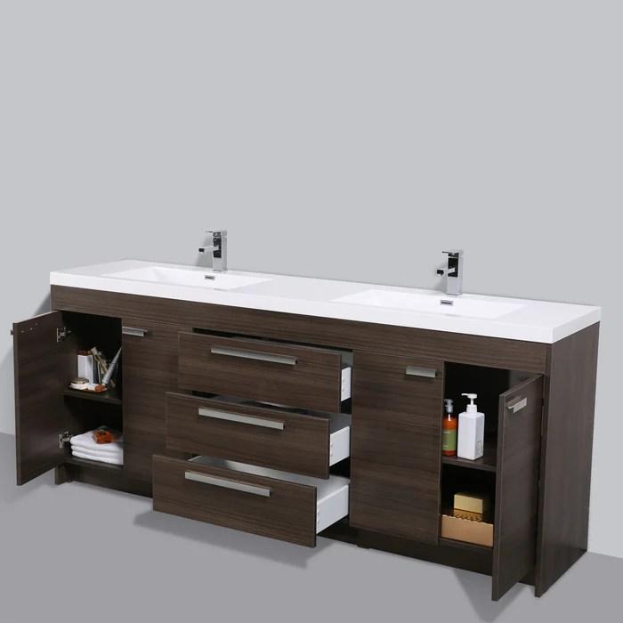 eviva lugano 84 inch gray oak modern double sink bathroom vanity with white integrated acrylic top