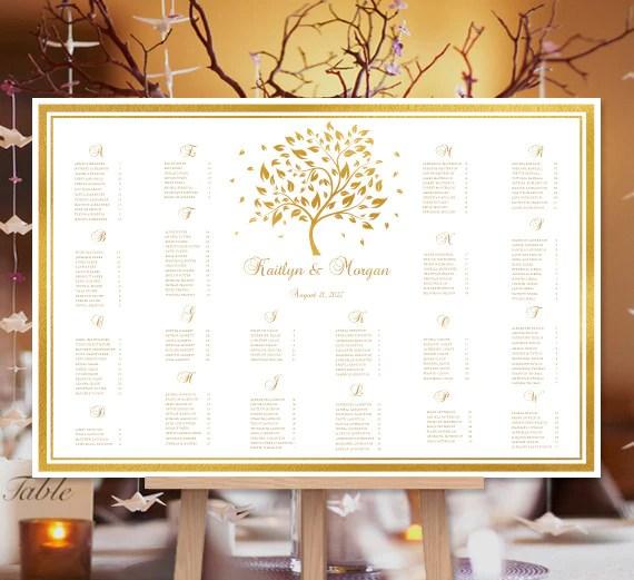 Wedding seating chart poster golden fall autumn tree also print ready rh weddingtemplateshop