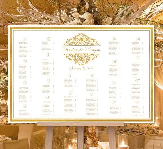 Wedding seating chart poster grace gold also print ready digital file rh weddingtemplateshop