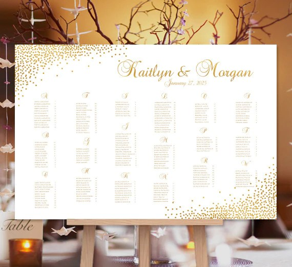 wedding seating chart poster confetti gold print ready digital file