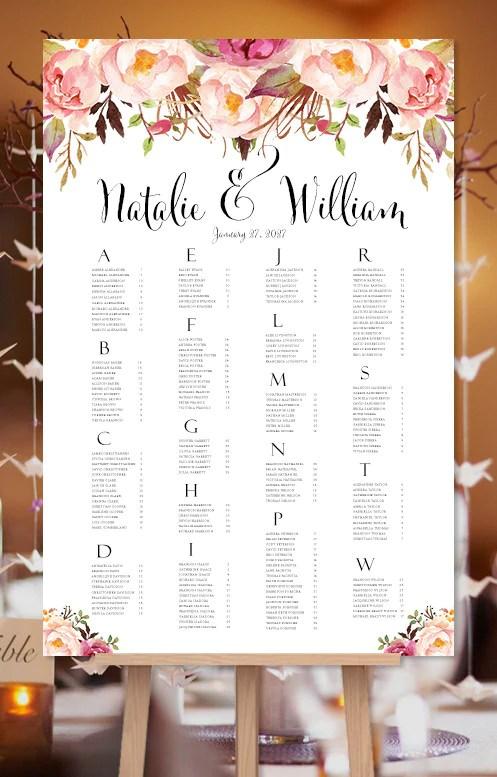 Wedding seating chart poster watercolor floral also romantic blossoms rh weddingtemplateshop