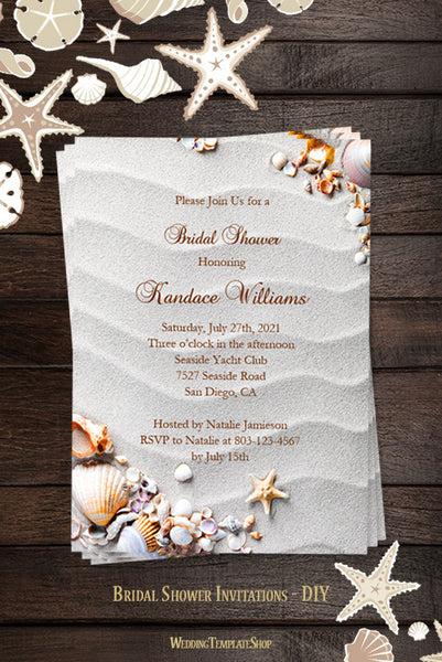 Beach Bridal Shower Invitations Tropical Seashells Amp Starfish Wedding Template Shop
